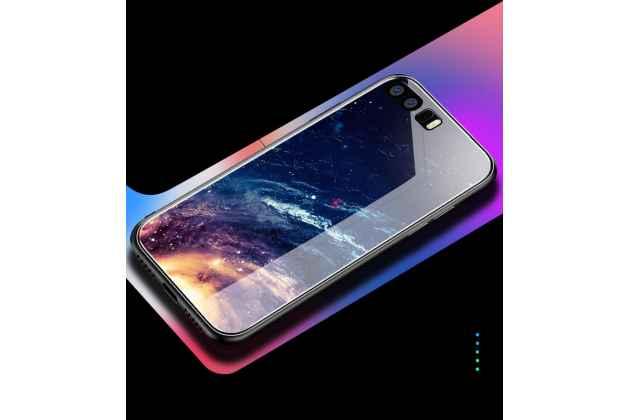 """Фирменный ультра-тонкий силиконовый чехол-бампер для Huawei Honor 8X (JSN-L21) 6.5"""" с закаленным стеклом на заднюю крышку телефона с изображением """"Космос"""""""