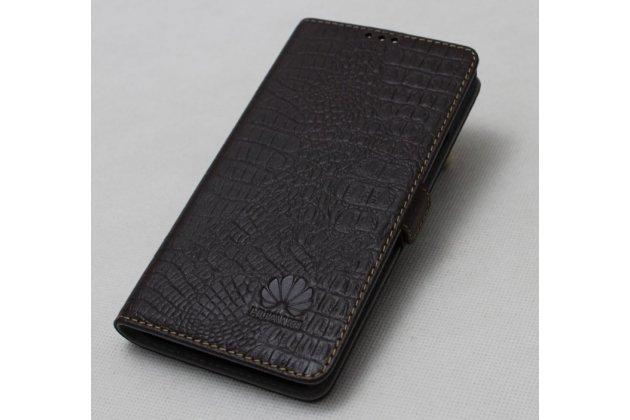 """Фирменный оригинальный подлинный чехол с логотипом для Huawei Honor 8X (JSN-L21) 6.5"""" из натуральной кожи крокодила коричневый"""