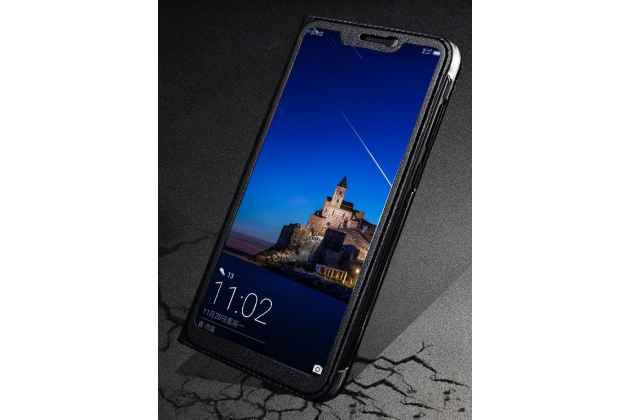 """Фирменный оригинальный чехол-книжка для Huawei Honor 8X (JSN-L21) 6.5"""" бордовый с окошком для входящих вызовов кожаный"""