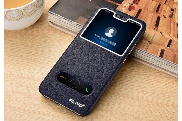 """Фирменный чехол-книжка для Huawei Honor 8X (JSN-L21) 6.5"""" темно-синий с окошком для входящих вызовов и свайпом водоотталкивающий"""