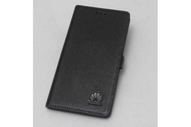 """Фирменный чехол-книжка  из качественной импортной кожи с застёжкой и мультиподставкой для Huawei Honor 8X (JSN-L21) 6.5"""" с логотипом черный"""