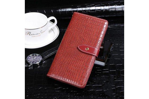"""Фирменный чехол с фактурной прошивкой рельефа кожи крокодила с мультиподставкой, застежкой и визитницей для Huawei Honor 8X (JSN-L21) 6.5"""" красный"""