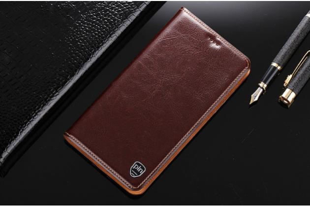 """Фирменный чехол-книжка из качественной импортной кожи с мульти-подставкой и визитницей для Huawei Honor 8X (JSN-L21) 6.5"""" коричневый"""