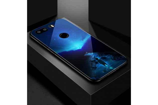 """Фирменный ультра-тонкий силиконовый чехол-бампер для Huawei Honor 8X (JSN-L21) 6.5"""" с закаленным стеклом на заднюю крышку телефона с изображением """"Ночная река"""""""