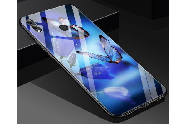 """Фирменный ультра-тонкий силиконовый чехол-бампер для Huawei Honor 8X (JSN-L21) 6.5"""" с закаленным стеклом на заднюю крышку телефона с изображением """"Бабочки"""""""