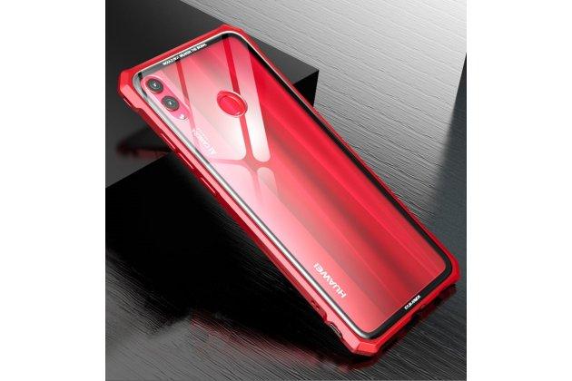 """Неубиваемый противоударный ударопрочный фирменный чехол-бампер для Huawei Honor 8X (JSN-L21) 6.5"""" с металлическими защитными углами со стеклом задней крышки Gorilla Glass цвет красный"""