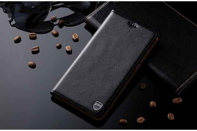 """Фирменный чехол-книжка из качественной импортной кожи с мульти-подставкой и визитницей для Huawei Honor 8X (JSN-L21) 6.5"""" черный"""