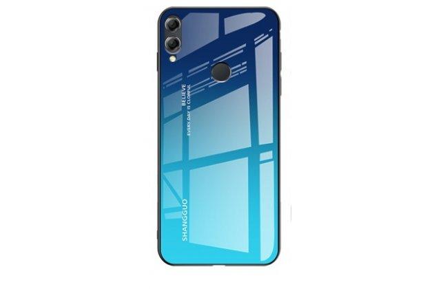 """Фирменный ультра-тонкий силиконовый чехол-бампер для Huawei Honor 8X (JSN-L21) 6.5"""" с закаленным стеклом на заднюю крышку телефона градиент синий"""