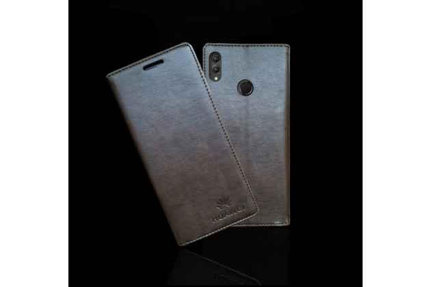 """Фирменный чехол-книжка  из качественной импортной кожи с мультиподставкой для Huawei Honor 8X (JSN-L21) 6.5"""" с логотипом коричневый"""