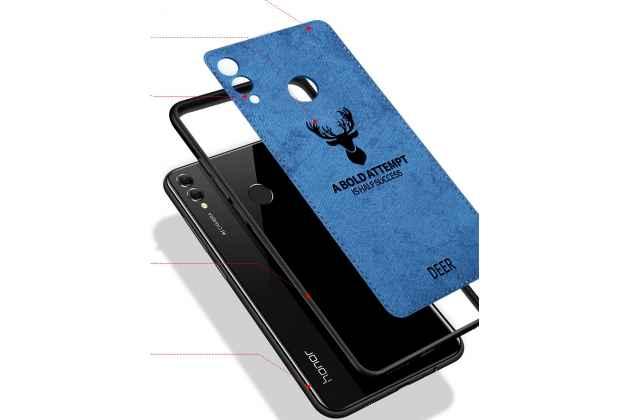 """Фирменная роскошная задняя панель-чехол-накладка из мягкого силикона и ткани с 3D изображением на Huawei Honor 8X (JSN-L21) 6.5"""" с безумно красивым рисунком тематика """"Олень"""" синий"""