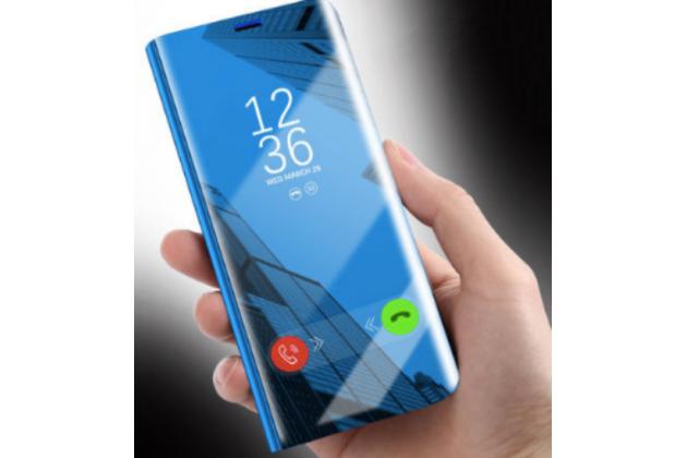 """Чехол-книжка с дизайном """"Clear View Cover"""" полупрозрачный с зеркальной поверхностью для Huawei Honor 8X (JSN-L21) 6.5"""" золотой"""