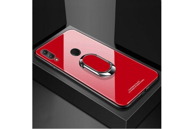 """Фирменный ультра-тонкий силиконовый чехол-бампер с держателем для Huawei Honor 8X (JSN-L21) 6.5"""" с закаленным стеклом на заднюю крышку телефона красный"""