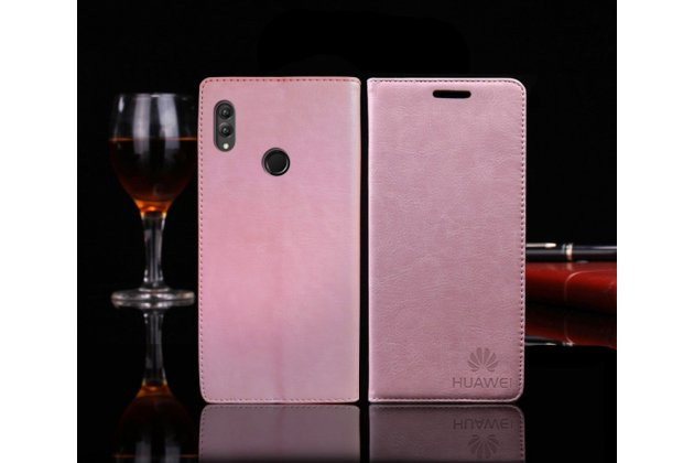 """Фирменный чехол-книжка  из качественной импортной кожи с мультиподставкой для Huawei Honor 8X (JSN-L21) 6.5"""" с логотипом розовый"""
