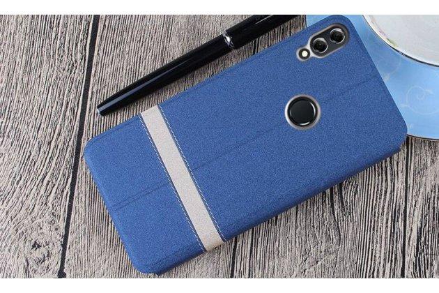 "Фирменный чехол-книжка водоотталкивающий с мульти-подставкой для Huawei Honor 8X (JSN-L21) 6.5"" с полосой синий"