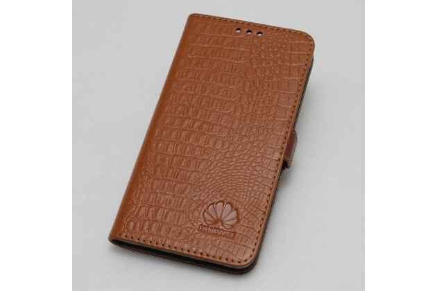 """Фирменный оригинальный подлинный чехол с логотипом для Huawei Honor 8X (JSN-L21) 6.5"""" из натуральной кожи крокодила светло-коричневый"""