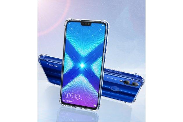 """Фирменная ультра-тонкая полимерная из мягкого качественного силикона задняя панель-чехол-накладка с защитой углов для Huawei Honor 8X (JSN-L21) 6.5"""" прозрачная"""