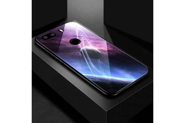 """Фирменный ультра-тонкий силиконовый чехол-бампер для Huawei Honor 8X (JSN-L21) 6.5"""" с закаленным стеклом на заднюю крышку телефона с изображением """"Планета"""""""