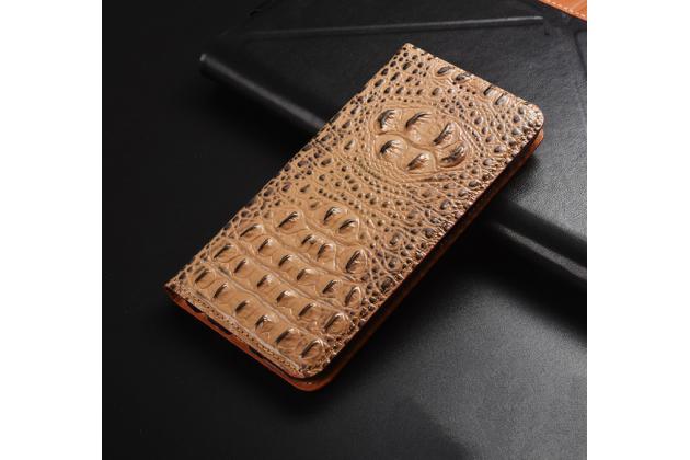 """Фирменный роскошный эксклюзивный чехол с объёмным 3D изображением кожи крокодила кофейный для Huawei Honor 8X (JSN-L21) 6.5"""". Только в нашем магазине. Количество ограничено"""