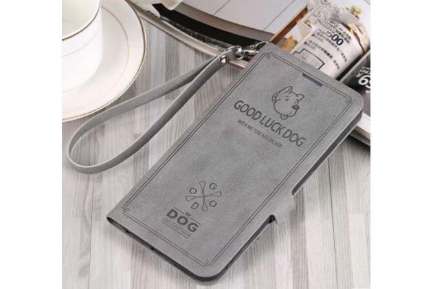 "Фирменный чехол-книжка из кожи с подставкой застёжкой и визитницей для Huawei Honor 8X (JSN-L21) 6.5"" серый с изображением тематика ""Собачка"""