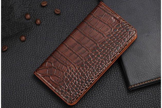 """Фирменный роскошный эксклюзивный чехол с фактурной прошивкой рельефа кожи крокодила и визитницей коричневый для Huawei Honor 8X (JSN-L21) 6.5"""". Только в нашем магазине. Количество ограничено"""