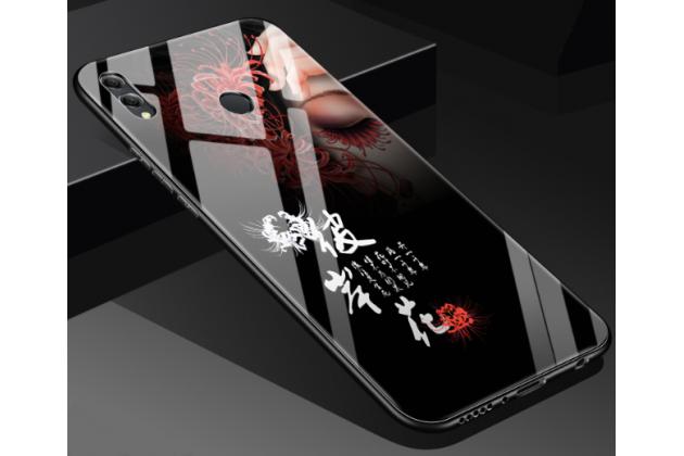 """Фирменный ультра-тонкий силиконовый чехол-бампер для Huawei Honor 8X (JSN-L21) 6.5"""" с закаленным стеклом на заднюю крышку телефона с изображением """"Иероглифы"""""""