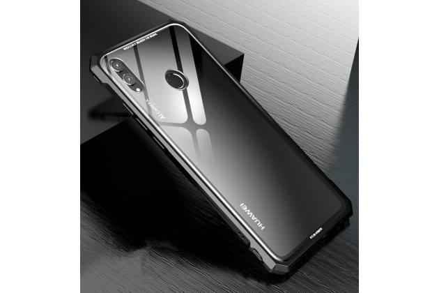 """Неубиваемый противоударный ударопрочный фирменный чехол-бампер для Huawei Honor 8X (JSN-L21) 6.5"""" с металлическими защитными углами со стеклом задней крышки Gorilla Glass цвет черный"""