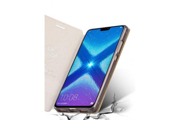 """Фирменный чехол-книжка водоотталкивающий с мульти-подставкой для Huawei Honor 8X (JSN-L21) 6.5"""" с полосой розовый"""