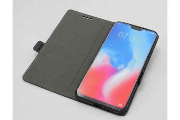 """Фирменный чехол-книжка  из качественной импортной кожи с застёжкой и мультиподставкой для Huawei Honor 8X (JSN-L21) 6.5"""" с логотипом бордовый"""