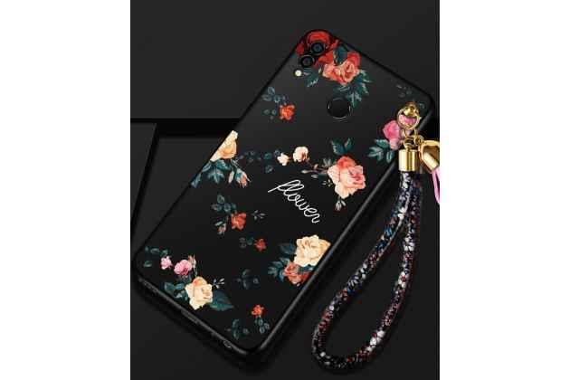 """Фирменная ультра-тонкая полимерная из мягкого качественного силикона задняя панель-чехол-накладка для Huawei Honor 8X (JSN-L21) 6.5"""" черная с изображением """"Розы"""""""