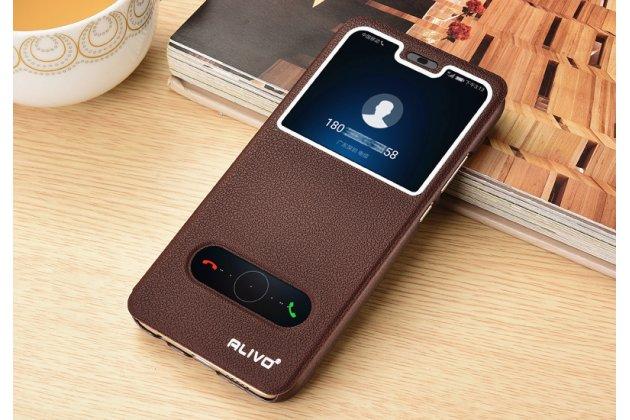 """Фирменный чехол-книжка для Huawei Honor 8X (JSN-L21) 6.5"""" коричневый с окошком для входящих вызовов и свайпом водоотталкивающий"""