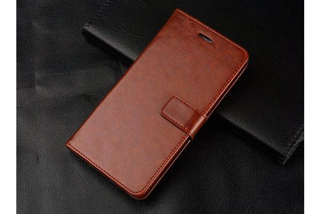 """Фирменный чехол-книжка из качественной импортной кожи с подставкой застёжкой и визитницей для Huawei Honor 8X (JSN-L21) 6.5"""" коричневый"""