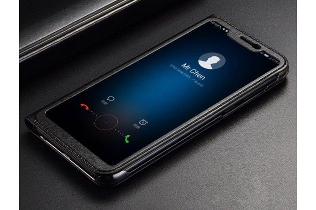 """Фирменный оригинальный чехол-книжка для Huawei Honor 8X (JSN-L21) 6.5"""" черный с окошком для входящих вызовов кожаный"""