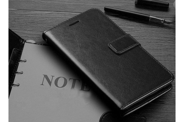 """Фирменный чехол-книжка из качественной импортной кожи с подставкой застёжкой и визитницей для Huawei Honor 8X (JSN-L21) 6.5"""" черный"""
