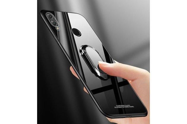 """Фирменный ультра-тонкий силиконовый чехол-бампер с держателем для Huawei Honor 8X (JSN-L21) 6.5"""" с закаленным стеклом на заднюю крышку телефона черный"""