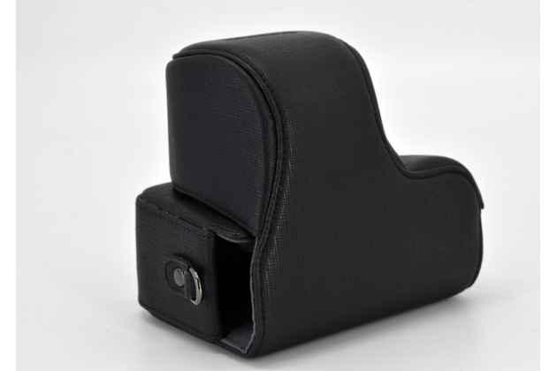 Сумка-кожух из качественной импортной кожи для фотоаппарата Olympus Pen E-PL9/ E-PL8/ E-PL7/ E-PL6 для 14-42 объектива черного цвета