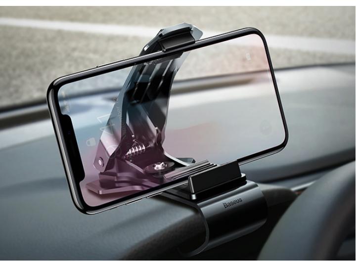 Автомобильная подставка-держатель под телефон на панель в машину с прищепкой с шириной 35-70мм черная..