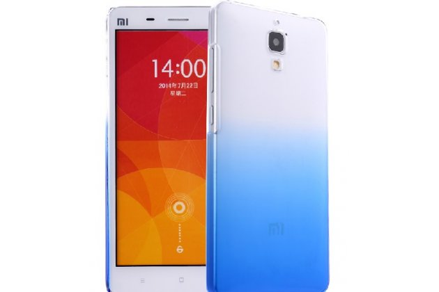 Фирменная из тонкого и лёгкого пластика задняя панель-чехол-накладка для Xiaomi Mi4  прозрачная с эффектом дождя