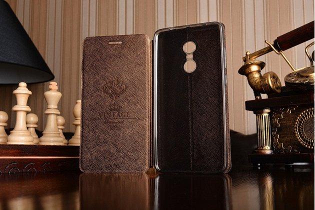 """Фирменный чехол-книжка  для Xiaomi Redmi Note 4 5.5"""" из качественной водоотталкивающей импортной кожи на жёсткой металлической основе коричневого цвета"""