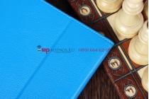Фирменный чехол для Google Samsung Nexus 10 голубой кожаный
