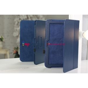 Фирменный чехол для Google Samsung Nexus 10 синий кожаный