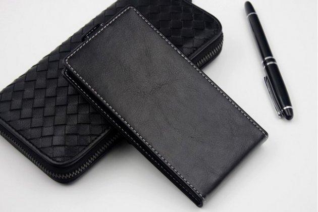Фирменный оригинальный вертикальный откидной чехол-флип для iNew V1 черный из натуральной кожи Prestige