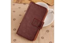 Фирменный чехол-книжка из качественной импортной кожи с подставкой застёжкой и визитницей для iNew V1 коричневый