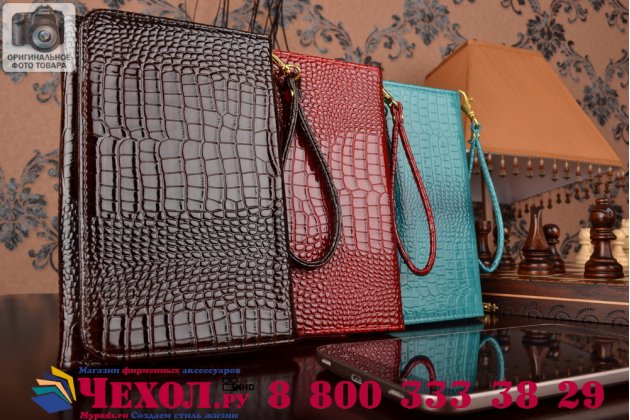 Фирменный роскошный эксклюзивный чехол-клатч/портмоне/сумочка/кошелек из лаковой кожи крокодила для планшета Irulu eXpro X2S. Только в нашем магазине. Количество ограничено.