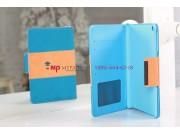 Чехол-обложка для iPad Mini сине-оранжевый в полоску кожаный..