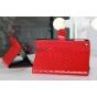 Сгёганая кожа в ромбик чехол-книжка для iPad Mini красный..