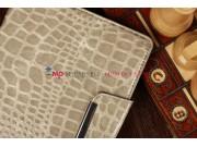 Лаковая блестящая кожа под крокодила чехол-книжка для iPad Mini серый..