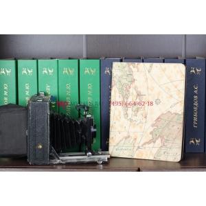 """Фирменный чехол-обложка для iPad 2/3/4 new тематика """"карта мира"""" кожаный"""