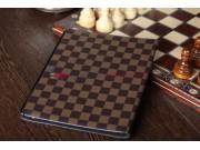 Фирменный чехол-обложка для iPad 2/3/4 new в клетку коричневый кожаный..