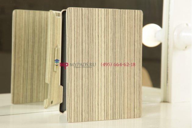 Фирменный чехол-обложка для iPad2/new iPad 3 бамбуковый светлый кожаный