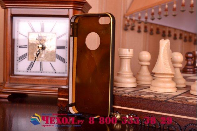 Фирменная роскошная элитная задняя панель-крышка на металлической основе обтянутая импортной кожей прошитой стёганым узором для iPhone 5 / 5S/ SE/ 5SE королевский черный